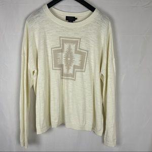 Pendleton ivory Western pattern cotton sweater XL